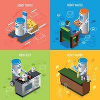 Isometric Robotic Restaurant Icon Set Vector Illustration