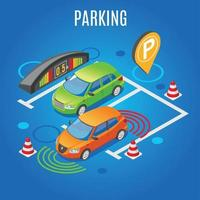 Isometric Parking Colored Background Vector Illustration