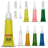 Super glue 3D realistic metallic container glue Vector