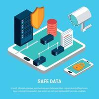 Ilustración de vector de concepto de diseño isométrico de datos seguros