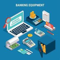 Banking Equipment Isometric Composition Vector Illustration
