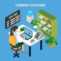 Currency Exchange Banking Isometric Composition Vector Illustration