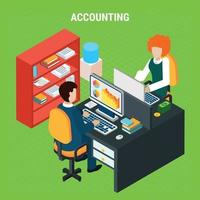 Banking Accounting Isometric Composition Vector Illustration