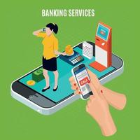 Banking Services Isometric Composition Vector Illustration