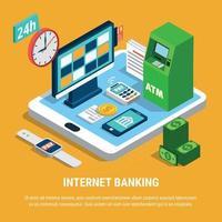 Internet Banking Isometric Composition Vector Illustration