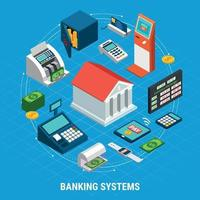 Banking Systems Round Composition Vector Illustration