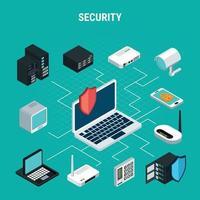 Security Isometric Flowchart Vector Illustration