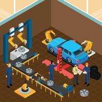 Ilustración de vector de composición de servicio de neumáticos de automóvil