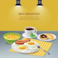 Realistic Breakfast Background Vector Illustration