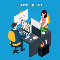 Statistical Data Isometric Background Vector Illustration