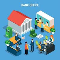 Banking Office Isometric Composition Vector Illustration