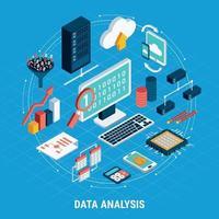 Data Analysis Isometric Set Vector Illustration