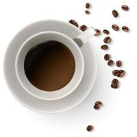 A cup of hot coffee Coffee beans vector