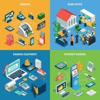 Banking Isometric Design Concept Vector Illustration
