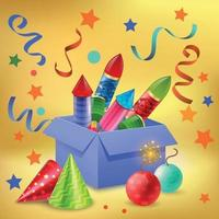 Gift Box Firecrackers Composition vector