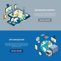 Navigation Banners Set Vector Illustration