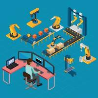 Manufacturing Work Isometric Composition Vector Illustration