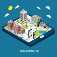 Mobile Navigation Isometric Illustration Vector Illustration