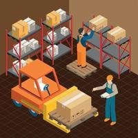 In The Warehouse Composition Vector Illustration