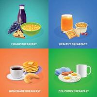 Realistic Breakfast Design Concept Vector Illustration