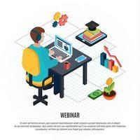 Webinar Isometric Flyer Vector Illustration
