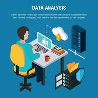 Data Analysis Isometric Background Vector Illustration