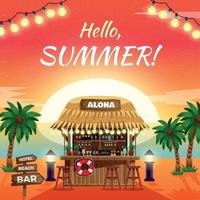 Hello Summer Bright Tropical Poster Vector Illustration