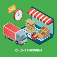Online Shopping Isometric Illustration Vector Illustration