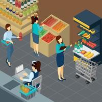 Grocery Store Isometric Background Vector Illustration