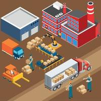 Factory Warehouse Industrial Composition Vector Illustration