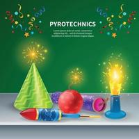 Festive Pyrotechnics Background Composition vector
