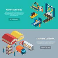 Manufacturing Horizontal Banners Set Vector Illustration