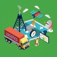 Navigation Isometric Concept Vector Illustration