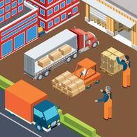 Ilustración de vector de composición de carga vehicular industrial