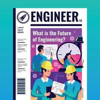 Engineer Magazine Cover Vector Illustration