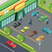 Supermarket With Car Parking Vector Illustration