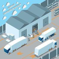 Logistic Electric Vehicles Isometric Composition Vector Illustration