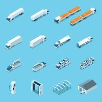 Futuristic Electric Vehicles Isometric Icons Vector Illustration