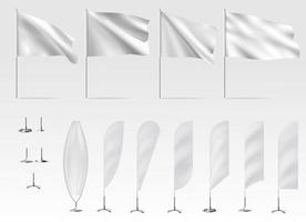 Mockups of white flags banner flags vector