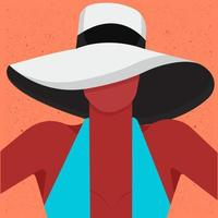 Woman with a hat free vector illustration