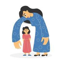 abuso y control de la madre y su hija vector