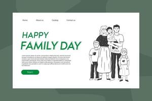 Landing page template with hand drawn doodle illustration vector