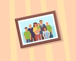 A framed portrait of a family hanging on the wall vector