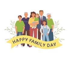 A large family stands together vector