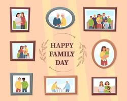 Different family photos as a symbol of continuity of generations vector