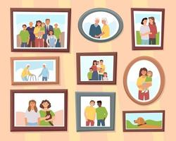 Different family photos vector