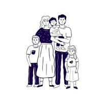 The hand drawn monochrome family standing in embrace vector