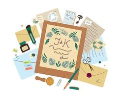 Various envelopes and invites for wedding vector