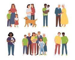 Different families parents children couple single vector