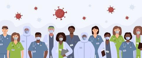 group healthcare workers and coronavirus vector